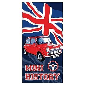 Toalla de playa de terciopelo Mini Austin Sixties con dibujo de la bandera de Reino Unido y coche Mini Austin de color rojo de 75 x 150 cm: Amazon.es: Hogar