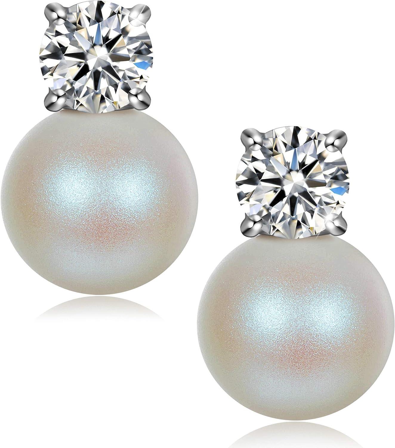 J. RENEÉ Pendientes Perla Mujer, Plata de Ley 925, Perlas de Swarovski, Joyas para Mujer, Pendientes Mujer plata, Regalos para Mujer, Joyeria Mujer