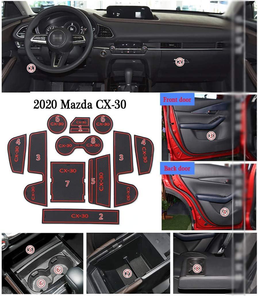 LAUTO Pad Slot per portiera Auto Tappetini Anti-Polvere per Interni Auto Emulsione Tappetini Antiscivolo per Interni Auto per 2020 Mazda CX-30 11 Pezzi//Set Antipolvere e Impermeabile,Rosso
