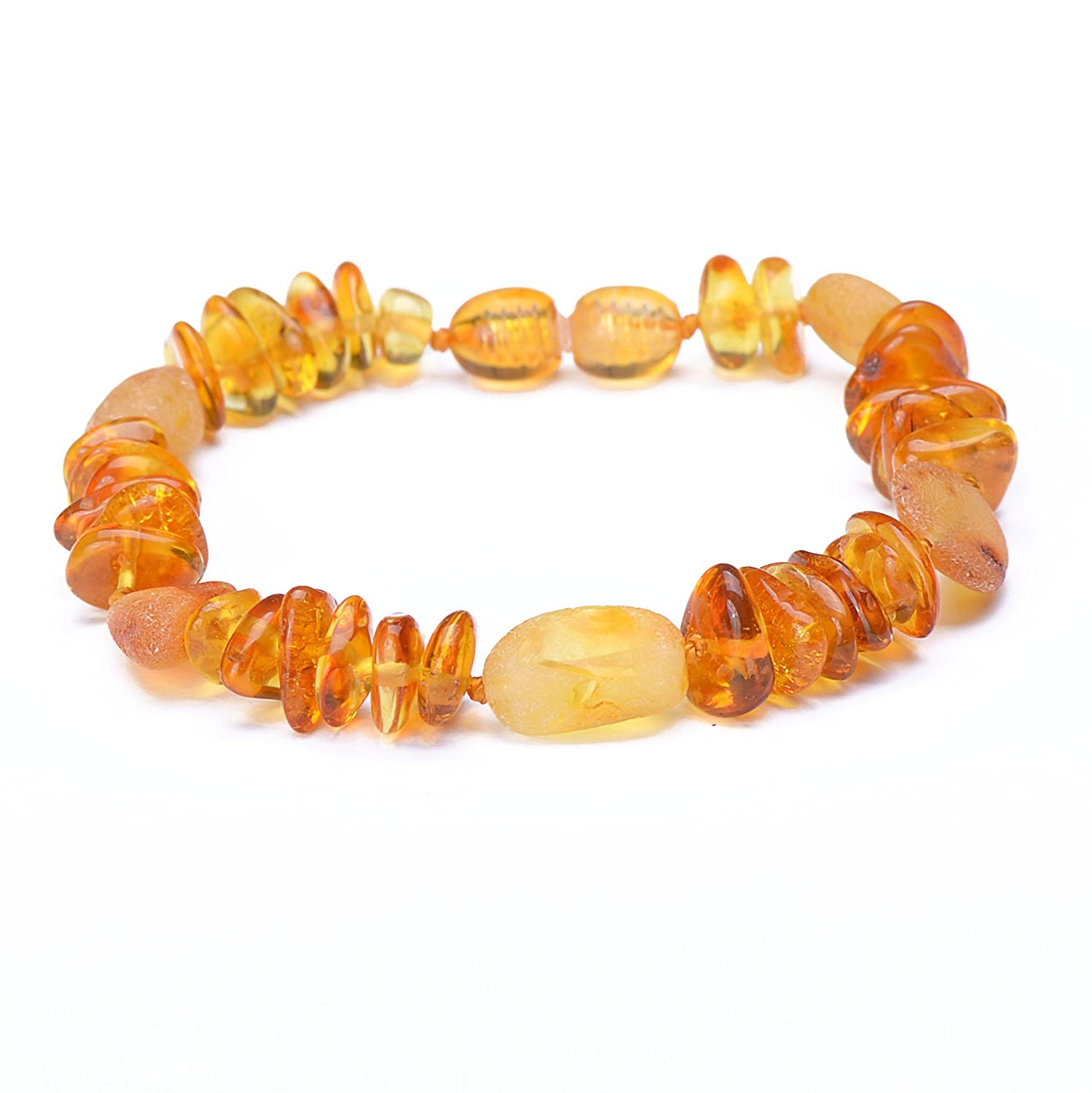7 Inches, Mixed6 Polished Baltic Amber Bracelet for Adult with A Plastic Screw Choose Your Color and Choose Your Size! 3 Sizes and 6 Different Colors Genuine Baltic Amber