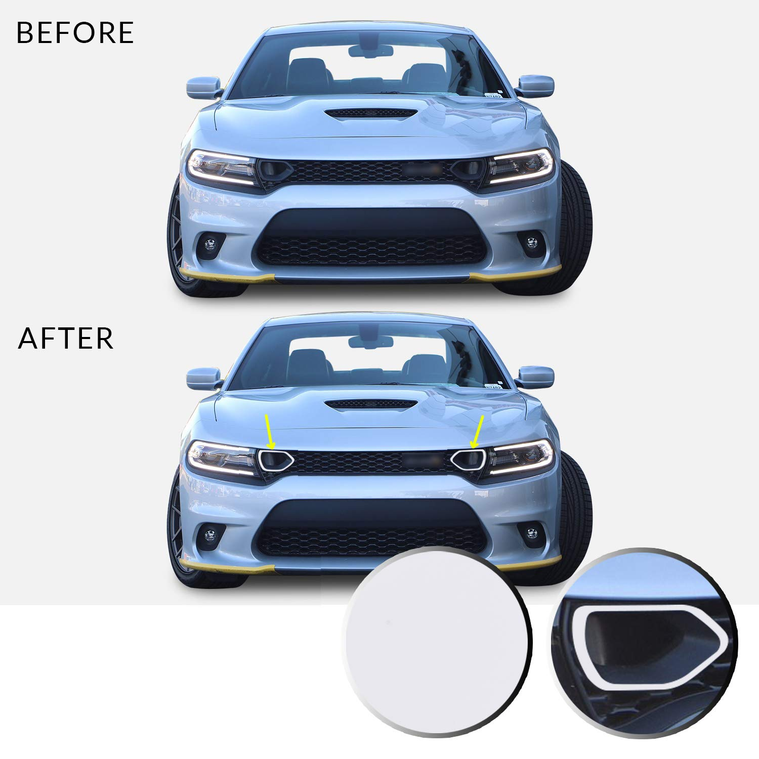 Matte Red Optix Front Upper Grille Bezel Vinyl Decal Overlay Trim Wrap Inserts Sticker Compatible with /& Fits Charger Scat Pack 2019 2020