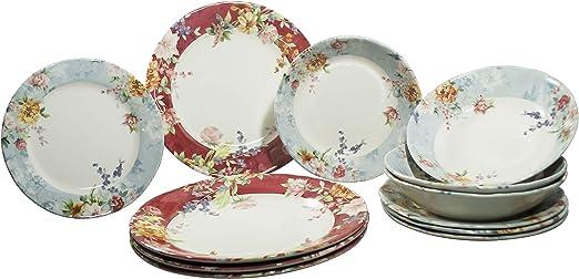 Amazon Com Tudor 12 Piece Premium Quality Porcelain Dinnerware Set Service For 4 Crimson See More Designs Inside Dinnerware Sets