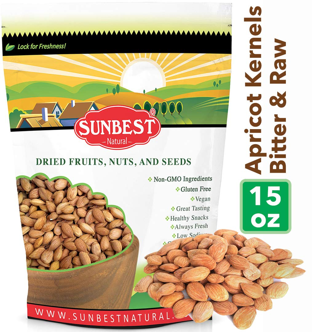 SUNBEST NATURAL Organic Bitter Raw Apricot Kernels (No Shell), Resealable Bag, 15 oz