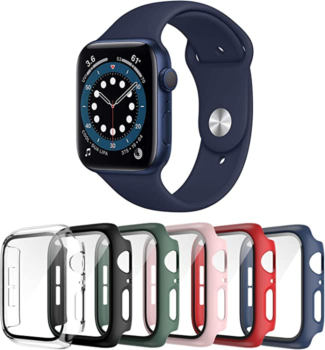 Landhoo 6 Pack case for Apple Watch Series SE/6/5/4 44mm Screen Protector with Tempered Glass, Hard PC HD Full Cover Protective iwatch(Black+Clear+Green+Red+Blue+Pink).