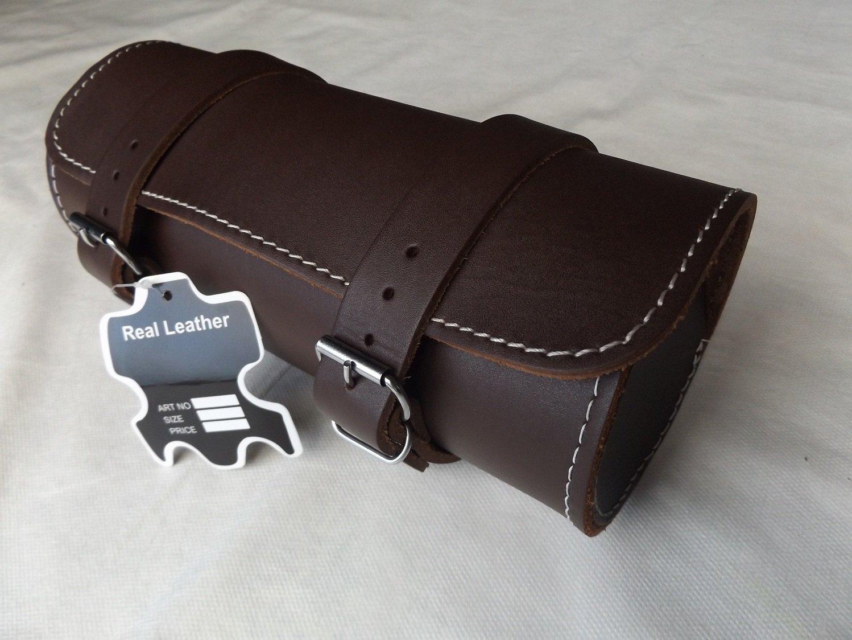 Full Grain Cowhide Leather Motorcycle Motorbike Tool Roll Saddle Bag TR9 ukshopsite