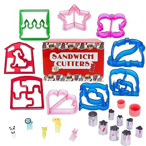 Moldes para sándwiches para niños, con 9 moldes de pan divertidos, 8 moldes de