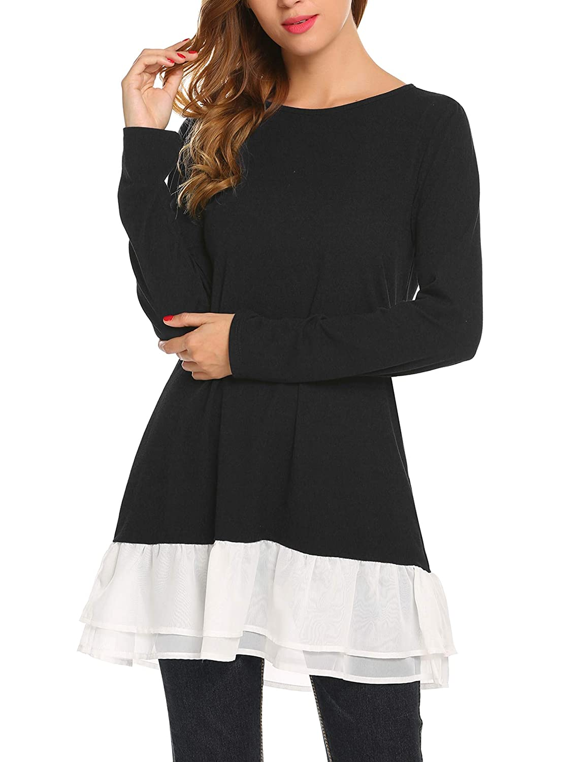 Zeagoo Womens Long Sleeve Tunic Dressy Top Casual Ruffle Hem Shirt