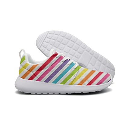 bd363300be258 Amazon.com: OneFish Rainbow Stripes Lightweight Breathable Running ...