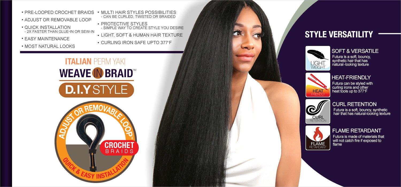 Amazon : Authentic Synthetic Hair Crochet Braids Pre Looped Italian  Perm Yaki 18