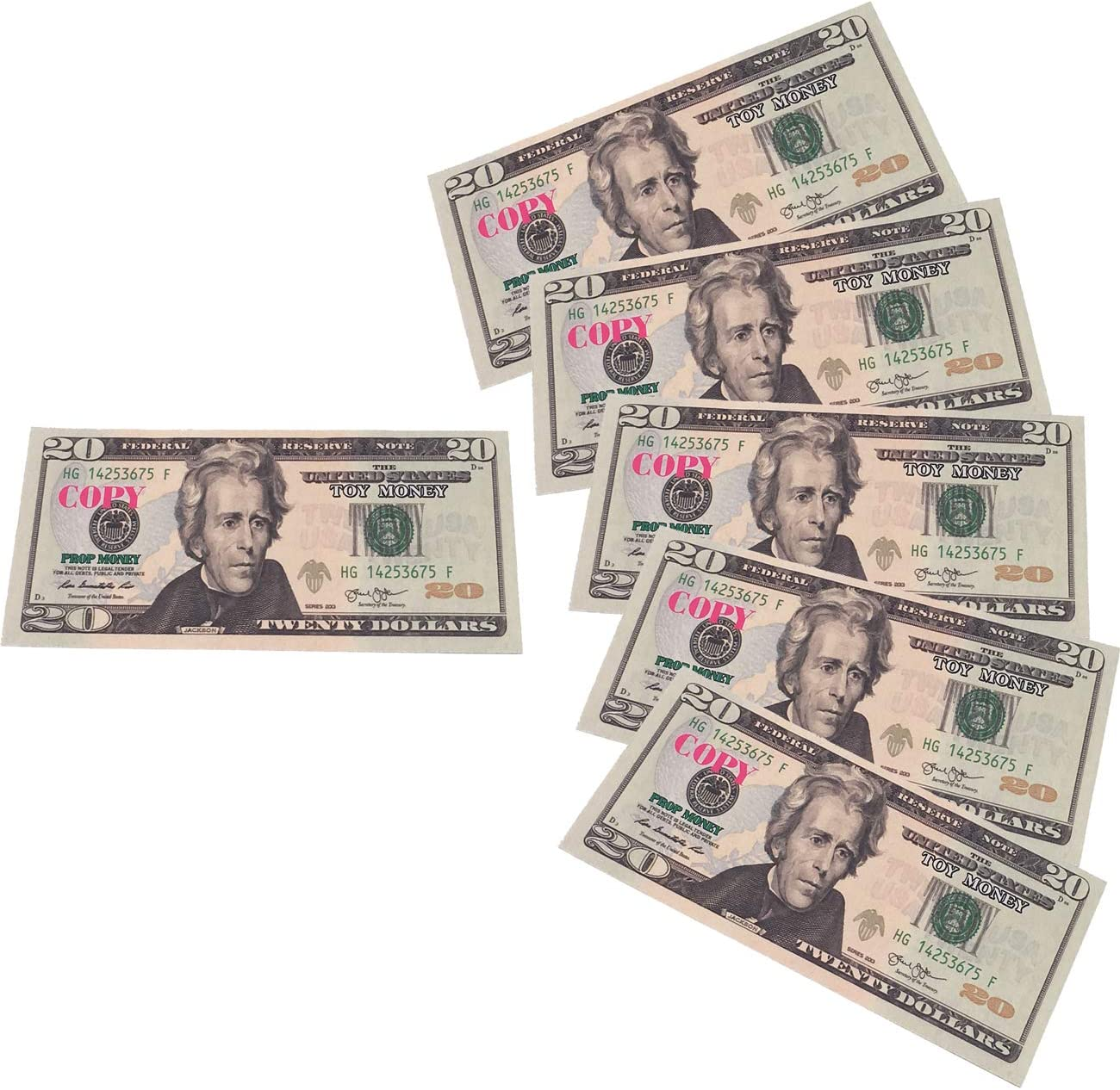 NICEMAN Movie Prop Money Full Print 2 Side,Play Money 100 PCS 20 Dollar Bills Stack for Movies,Kids and Party