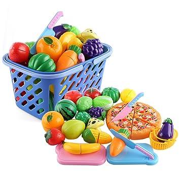 MAJOZ 29 Piezas Frutas y Verduras Juguete para Cortar ...