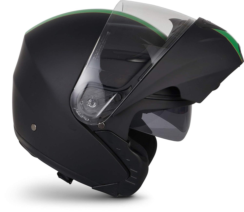 MOTO F19 Gloss Black /· Flip-Up Urbano Casco da motocicletta modulare Urban Sport Cruiser Moto Modular-Helmet Integrale Scooter /· ECE certificato /· con due visiere /· compresi Sacchetto portacasco /· Nero /· L 59-60cm