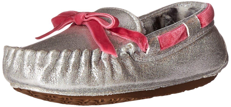 Stride Rite Moccasin Slipper, Gaby - Silver/Pink 11-12 Little Kid