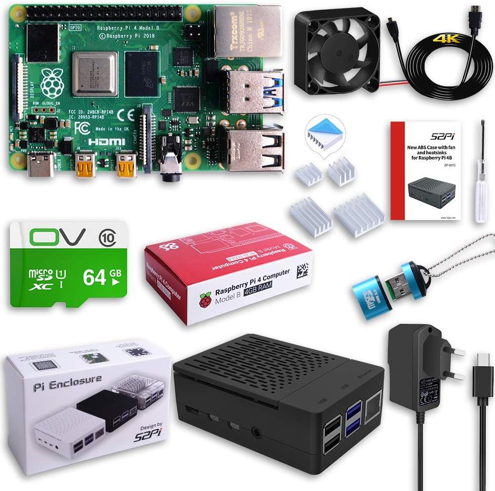Fuente de alimentaci/ón 5V 3A USB-C 4 disipadores t/érmicos MakerFun Raspberry Pi 4 Modelo B 4 GB Ultimate Kit con Tarjeta Micro SD Class10 de 64 GB Raspberry Pi 4 Caja con Ventilador