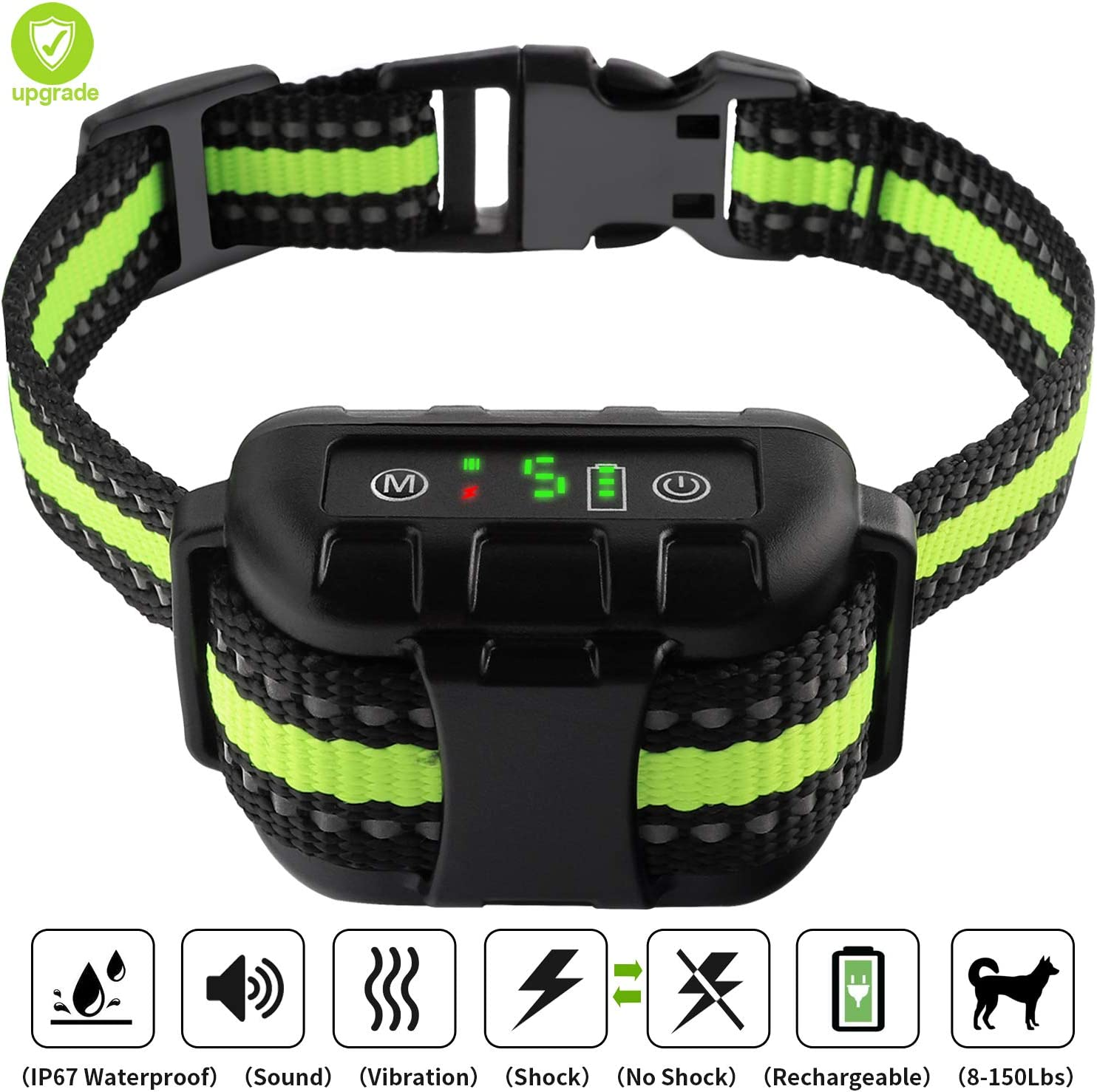LIPET Bark Collar, Dog Bark Collar Automatic Rechargeable with Beep, Vibration and No Harm Shock, Anti Bark Collar for Small Medium Large Dogs, 5 Adjustable Sensitivity Dog Shock Collar