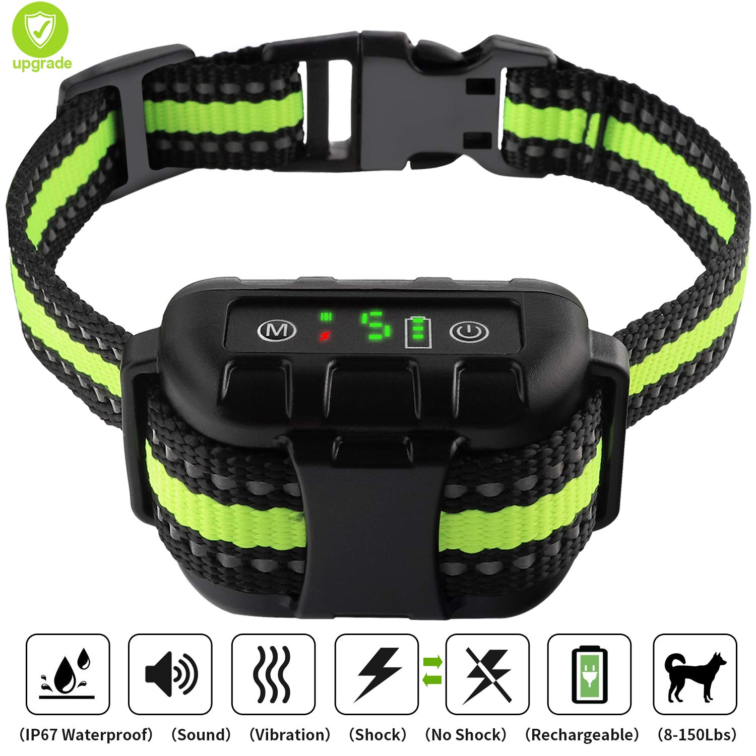 Bark Collar LIPET,  Dog Bark Collar Automatic Rechargeable with Beep, Vibration and No Harm Shock, Anti Bark Collar for Small Medium Large Dogs, 5 Adjustable Sensitivity Dog Shock Collar by LIPET
