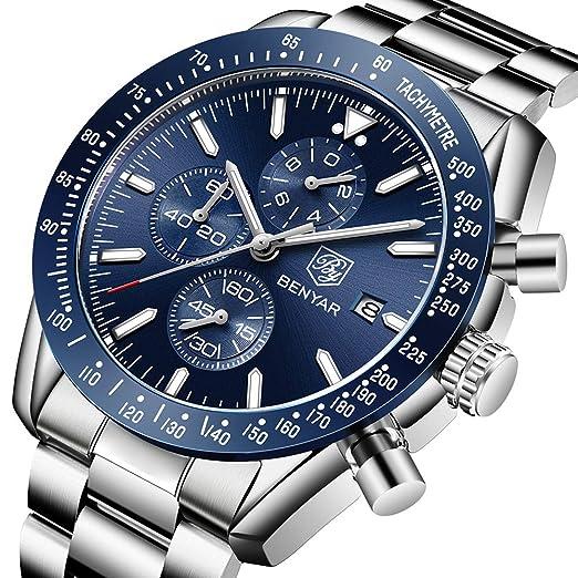 BENYAR Cuarzo cronógrafo Impermeable Relojes Business Casual Deporte Acero Inoxidable de Reloj de Pulsera: Amazon.es: Relojes