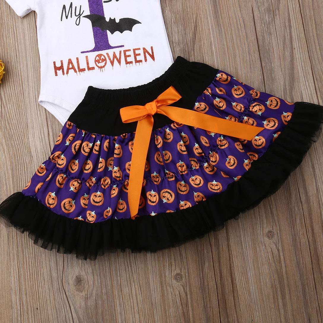 Nunique 3Pcs Newborn Baby Girls My 1st Halloween Costume Pumpkin Romper Tops+Tulle Skirts+Headband Clothes Set