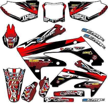 Race Series Black Complete Graphics Kit Senge Graphics Kit Compatible with Honda 2002-2012 CR 125//250 2-Stroke WITH POLISPORT RESTYLED PLASTICS