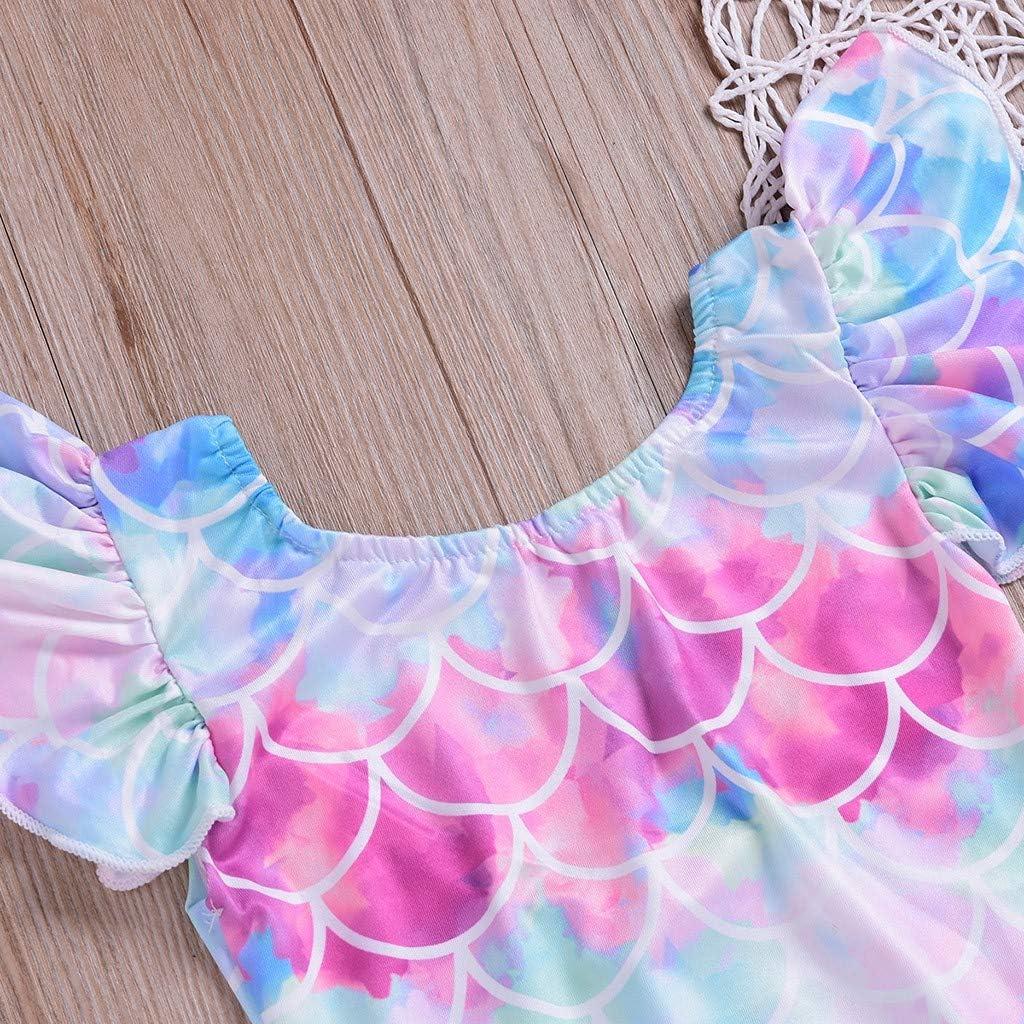 Kids Baby Girls Flying Sleeve Fish Scale Print Beach One-Piece Swimsuit Bathing Suit Waymine