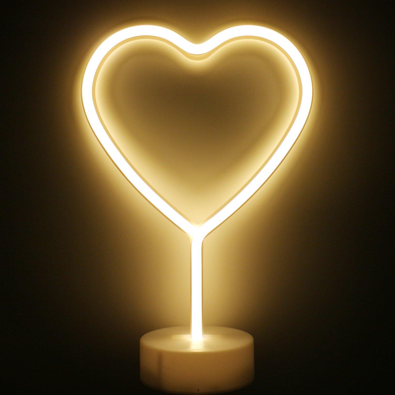 XIYUNTE /Étoile n/éon Light avec base Veilleuses Luminaires int/érieur d/écoration pour le LED /Étoile Lampes dambiance Blanc chaud Signes Batterie Op/ération veilleuses