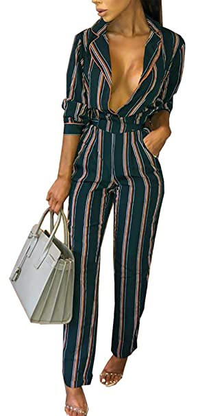 c9bff415ac3f PRETTYGARDEN Women s Sexy V Neck Striped Long Sleeve Wide Leg Jumpsuit  Romper with Pockets and Belt