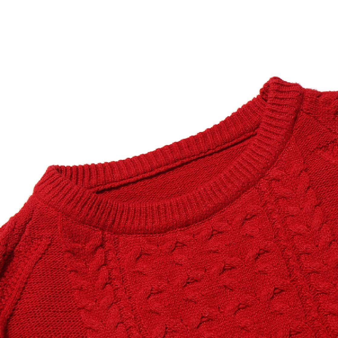 YUNY Men Marled Cable O-Neck Thermal Knitwear Pure Long Sleeve Pullover Sweaters Red L