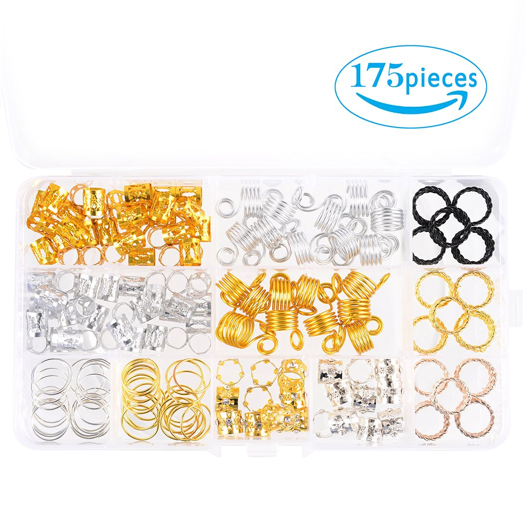 Hair Cuffs Metal Hair Braiding Beads with Crystal Aluminum Dreadlocks Accessories Spring Hair Jewelry Hair Decoration Hoops Hair Rings for Braids (175 Pcs Multiple Styles) by Messen by Messen