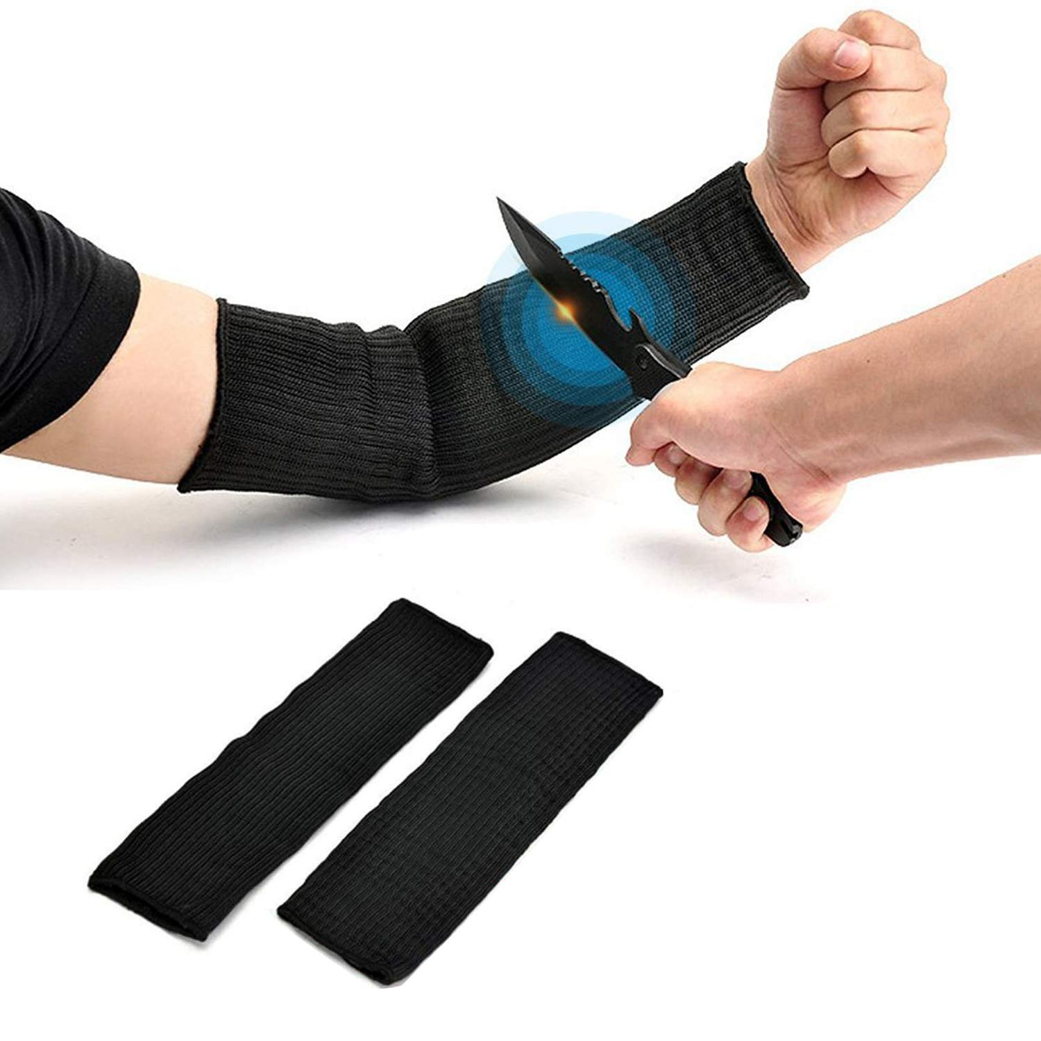 Arm Protective Sleeves, Kevlar Sleeves Cut Resistant Heat Resistant Sleeve, Anti Abrasion Safety Armband for Garden Kitchen Work 1 Pair(Black)
