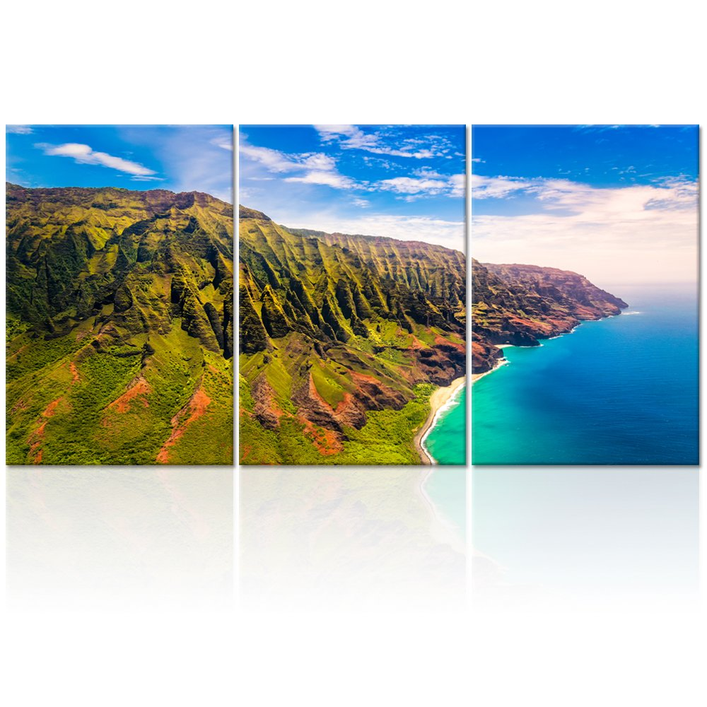 Visual Art Decor Large Seascape Photograph Napali Coast Kauai Hawaii Landscape Picture Prints Home Decor Office Living Room Canvas Wall Art Decoration (16''x24''x3, 01 Napali Coast)