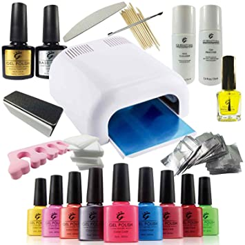 Pro ibn uv nail gel polish deluxe starter kit set including 36w pro ibn uv nail gel polish deluxe starter kit set including 36w uv lamp solutioingenieria Image collections