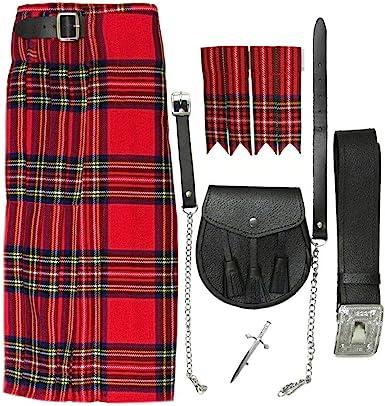 Socks Sporran Shirt Kilt Mens Scottish 5 Yard 9 Piece Kilt package Chain +