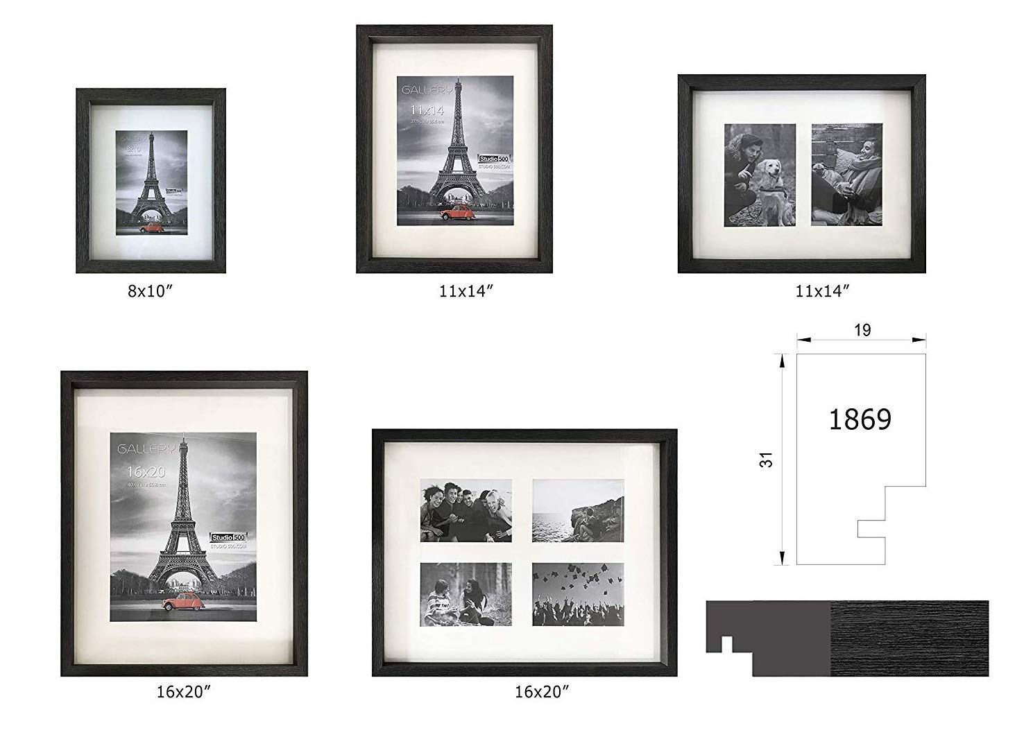 Hall of Frame~Newest Brand Collection of Black//Grey Distressed Look 8 by 10-inch from our Distressed Collection with an Opening for a 5x7 Photo Frame this is a shadow like frame with a 1.5 inch depth.