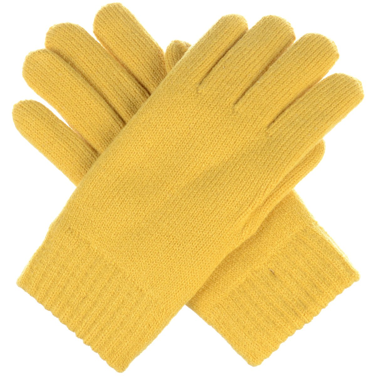 BYOS Winter Womens Toasty Warm Plush Fleece Lined Knit Gloves, 14 Solid Colors (Yellow)
