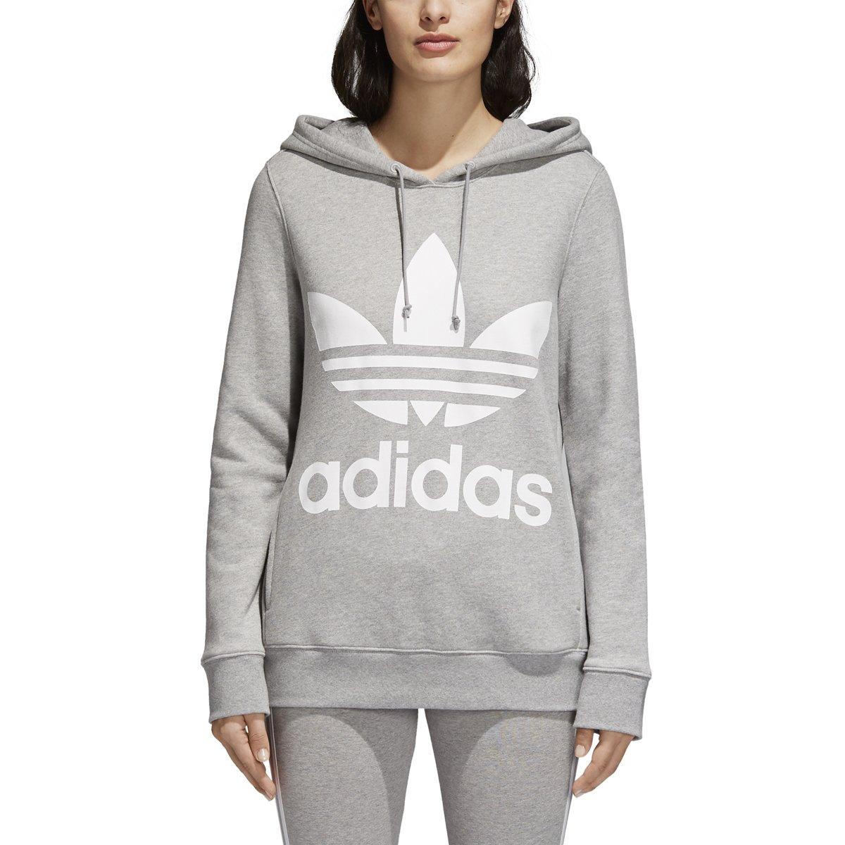 adidas Originals Women's Trefoil Hoodie, Medium Grey Heather, M