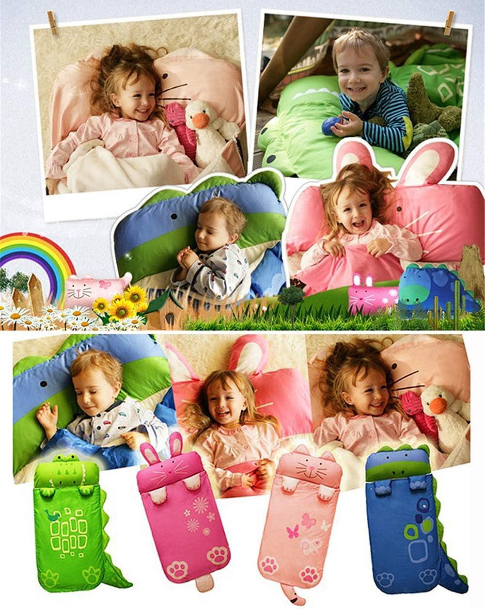 Children Slumber Bags Nap Mat Soft Warm Girls Boys Cute Cat//Rabbit//Crocodile//Dinosaur Slumber Bag WINNUO Kids Sleeping Bag
