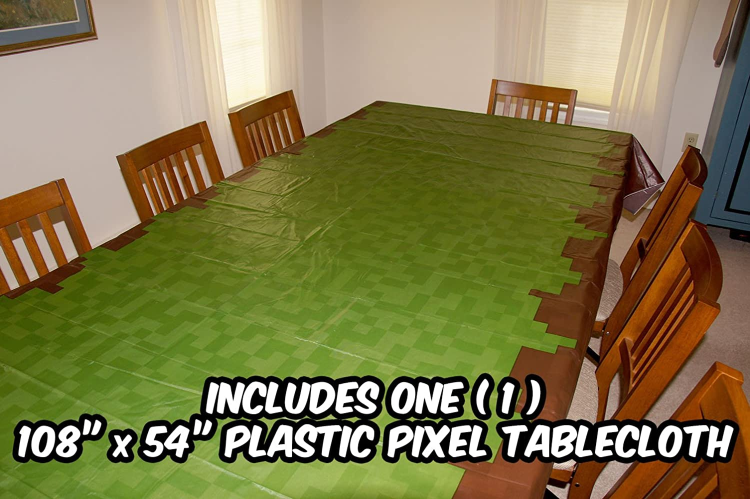 Wipes Clean in Seconds - Fun Made from Recycled Materials Parties+Toys Pixel Mine Crafter Style Party Tablecloth 108 x 54 Versatile Birthday Table Cover for Indoor or Outdoor Use
