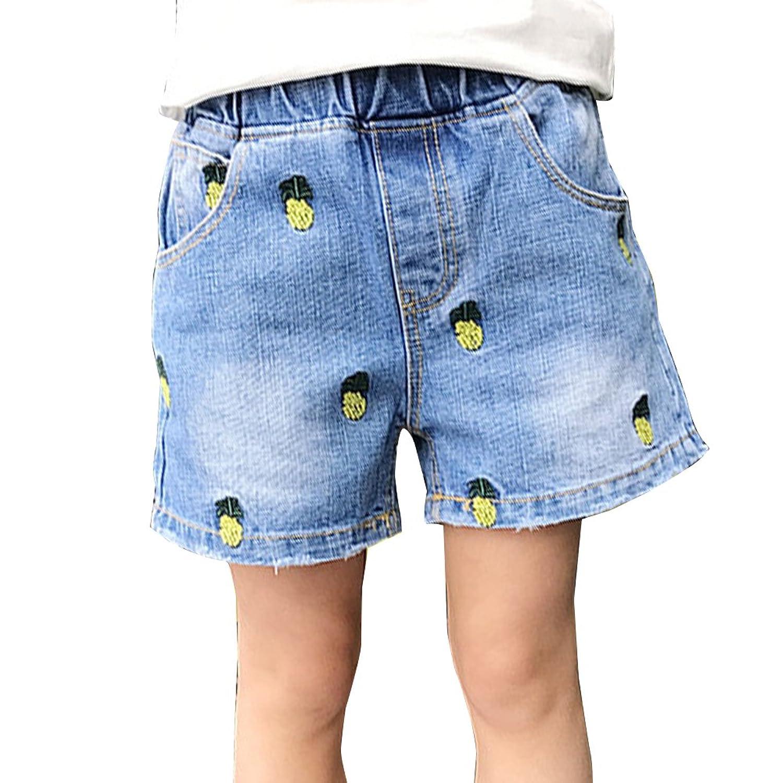 Guiran Short En Jean Fille Shorts De Denim Taille Elastique Shorts Courte Pantacourt