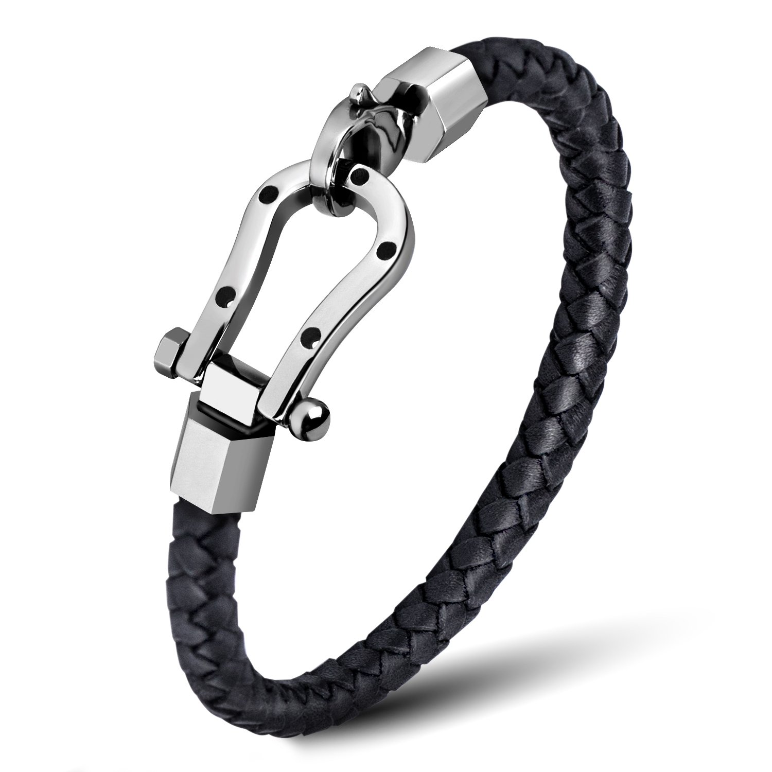 ZD-jewelry Mens  Leather Bracelet Cowhide Braided Good Luck Horseshoe Stainless Steel, Black Wrist Cuff Bangle Lobster Clip, Bracelet For Men 8.5 inch