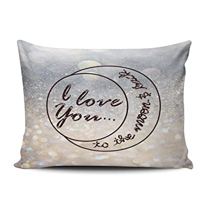 b95e905487 Fanaing Bedroom Custom Decor I Love You to the Moon Back Pillowcase Soft  Zippered Silver and