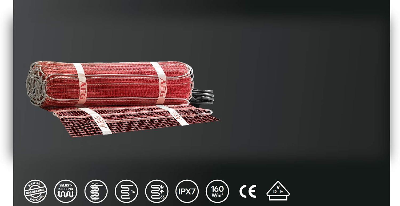 Heizleistung: 200W//m/² AEG THERMO BODEN Comfort Turbo-Heizmatten-Set 234358 TBS TC 30 200//5 T Verlegfl/äche: 5 m/² Breite: 30 cm