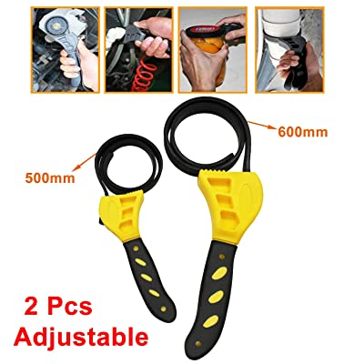 Alvar Set of 2pcs (6 inch and 4 inch)Adjustable Truck Oil Filter Wrench tool- Use as Jar Opener, Pipe Wrench, Rubber Strap Wrenches Used by DIY, Mechanics, Plumbers (Black on Yellow)