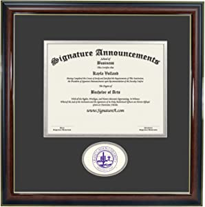 "Signature Announcements Grand-Canyon-University-ROTC Undergraduate, Professional/Doctor Sculpted Foil Seal Graduation Diploma Frame, 16"" x 16"", Gloss Mahogany with Gold Accent"