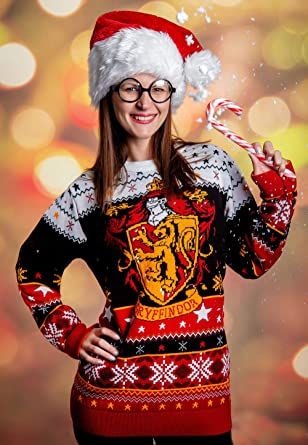 Harry Potter Christmas Jumper Grifondoro Natale Festive Adulti /& Bambini Maglione Top