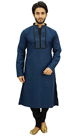 22bf8e90fc Atasi Men's Blue Designer Kurta Pyjama Set Long Cotton Punjabi Shirt-Small