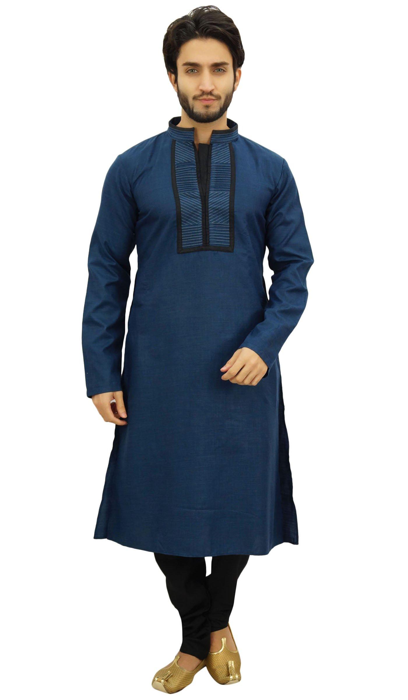 Atasi Men's Blue Designer Kurta Pyjama Set Long Cotton Punjabi Shirt-Medium