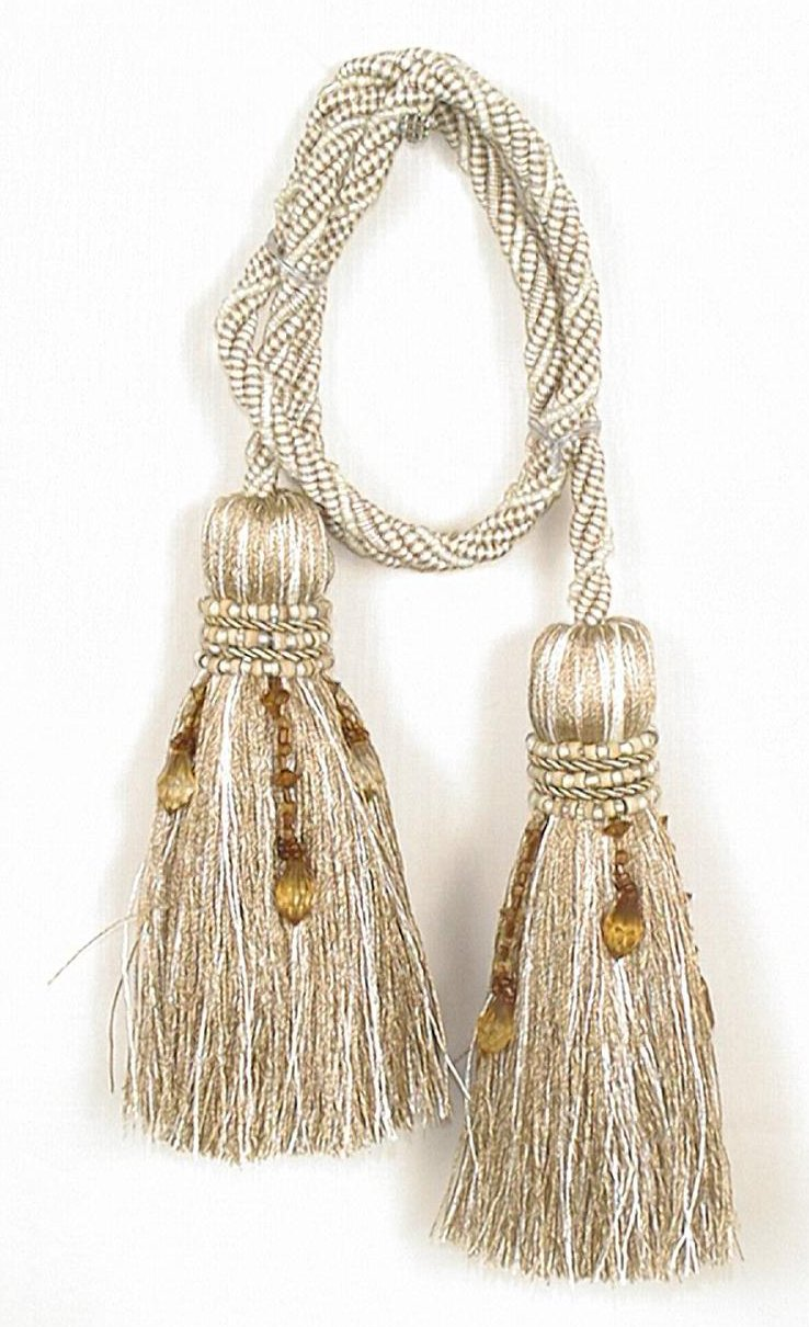 India House Chair Tie Tassels with 27-Inch Cord Milano, 4.5-Inch, Beige Mix