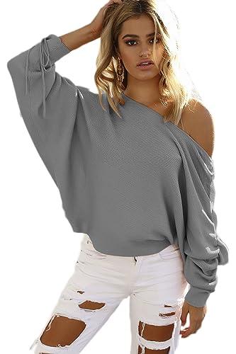 La Mujer Casual De Manga Larga Sólido Cuello Barco Acanalada Loose Knit T Shirt Top Tee