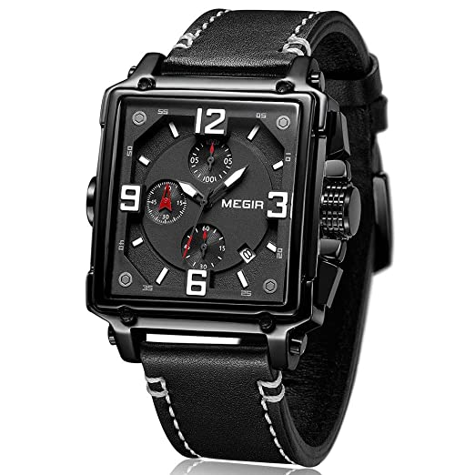 MEGIR - Reloj de Pulsera para Hombre, Rectangular, Correa de Piel Negra, Resistente