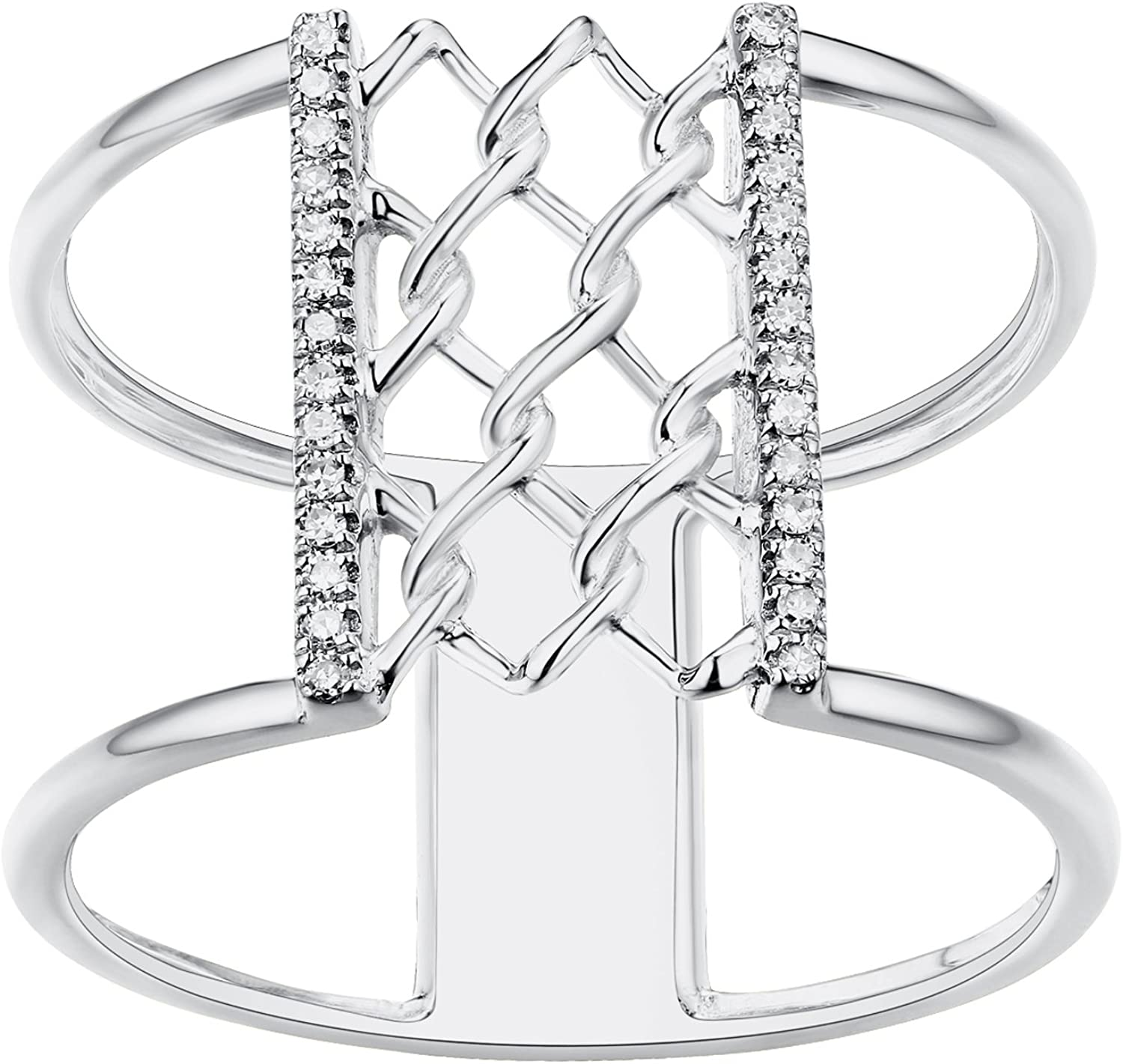 Prism Jewel 0.07CT G-H//I1 Natural Diamond Light Weight Clover Wrap Ring